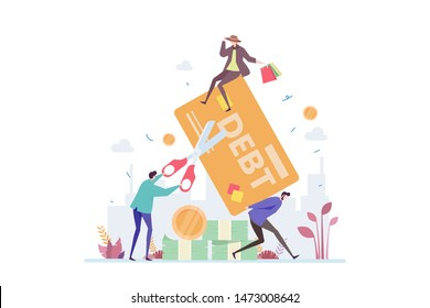 Credit Card Debt Vector Illustration Concept Showing a person trap in a credit card debt, Suitable for landing page, ui, web, App intro card, editorial, flyer, and banner.