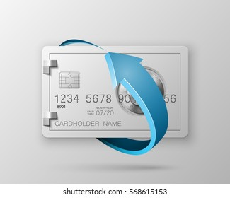 Credit card with Electronic lock in round arrow. Update banking with image combination lock on front side. Plastic card with steel safe software. Debit card with electromagnetic locking devices chip