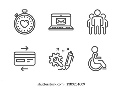 Credit card, E-mail and Engineering icons simple set. Group, Heartbeat timer and Disabled signs. Bank payment, New message. Technology set. Line credit card icon. Editable stroke. Vector