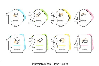 Credit card, Face declined and Checkbox icons simple set. Opened gift sign. Bank payment, Identification error, Survey choice. Present box. Business set. Infographic timeline. Line credit card icon