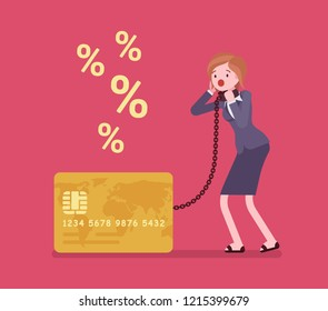 Credit card, female cardholder percentage rate problem. Woman frustrated with heaviest card debt burden, consumer in difficult financial situation unable to pay. Vector flat style cartoon illustration