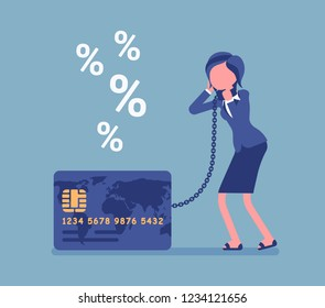 Credit card, female cardholder percentage rate problem. Woman frustrated with heaviest card debt burden, consumer, difficult financial situation unable to pay. Vector illustration, faceless characters