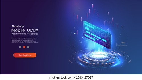 Credit card in the form of a hologram on a blue futuristic background. Can use for web banner, infographics. Flat isometric vector illustration isolated. Business, financial illustration concept.