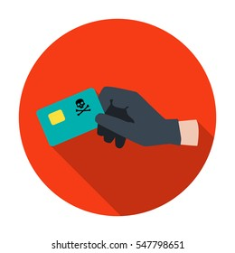 Credit card fraud icon in flat style isolated on white background. Hackers and hacking symbol stock vector illustration.