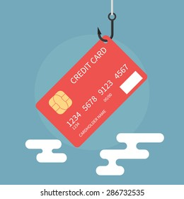 Credit card fraud, theft of bank data - isolated flat vector illustration.