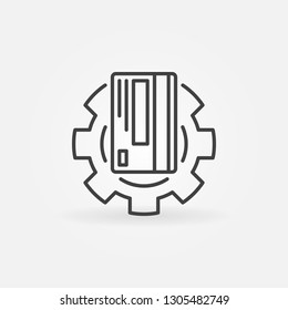 Credit card in gear vector outline icon. Card repair concept symbol in thin line style