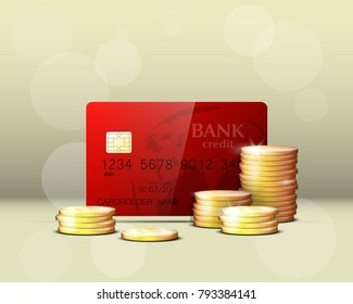 Credit card & gold coins banner. Banking hidden treasures icon. Finans riches icon. Plastic card software wealth badge. Debit card with electromagnetic chip. Privacy Electronic money funds transfer.