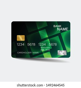 Credit card. With green elements design. And inspiration from abstract. On white background.
