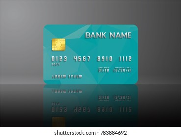 Credit card green on grey background with shadow. Abstract design for business.