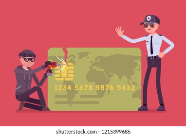 Credit card hacking. Masked man trying to gain unauthorized access, theft and fraud committed, cardholder attack, police security help to stop financial crime. Vector flat style cartoon illustration