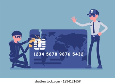 Credit card hacking. Masked man trying to gain unauthorized access, theft and fraud committed, cardholder attack, police security help to stop financial crime. Vector illustration, faceless characters