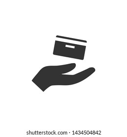 Credit card, hand icon. Vector illustration, flat design.