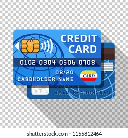 credit card icon flat style long stock vector royalty free