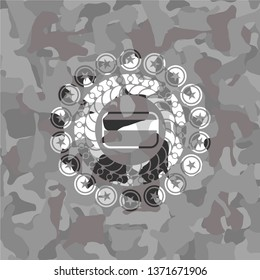 credit card icon on grey camouflage pattern