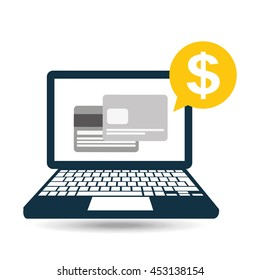 credit card icon on a laptop, vector illustration