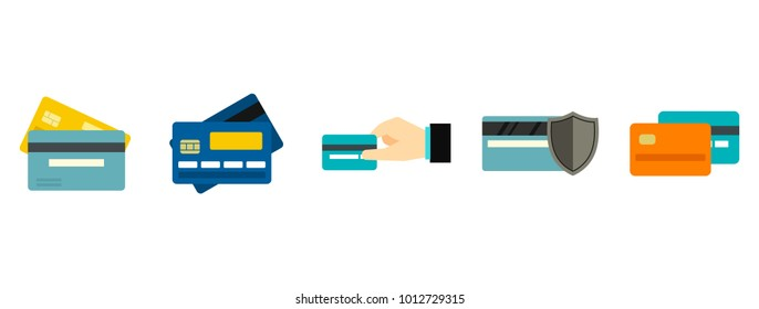Credit card icon set. Flat set of credit card vector icons for web design isolated on white background