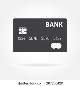 Credit card icon or sign isolated on white background. Vector illustration.