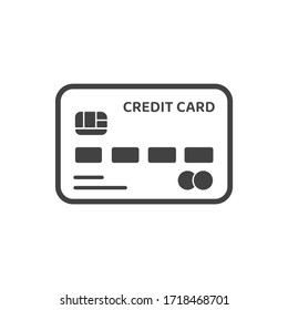 Credit card icon. Vector card instead of cash to contact financial transactions Isolated on white background.