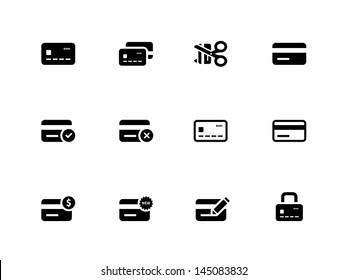 Credit card icons on white background. Vector illustration.