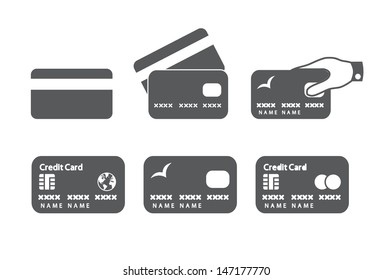 Credit card icons. Vector illustration.