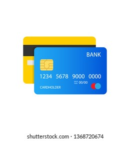 Credit card illustration, front and back view. EPS10 Vector