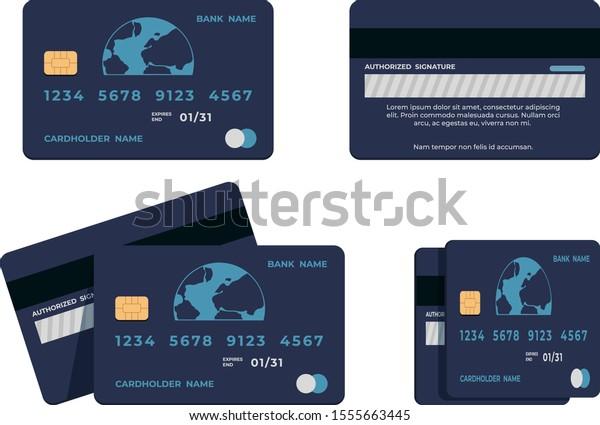 Design Bank Wit.Credit Card Illustrations Flat Mockup Atm Stock Image Download Now