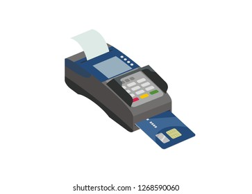 credit card inserted in the EDC machine, isometric view