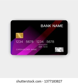 Credit card. With inspiration from the abstract.  Black and purple on the white background. Glossy plastic style. Vector illustration design EPS 10
