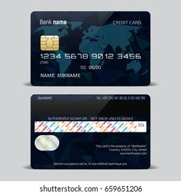 Credit card isolated on a white background. Credit card template with a polygonal design and world map. Vector illustration.