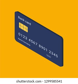 Credit card isometric icon. Credit card vector icon. Isometric vector illustration. - Vector