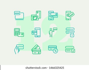 Credit card line icon set. Payment, gadget, mobile phone. Finance concept. Can be used for topics like money banking transaction