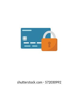 Credit card with lock isolated. Security concept. Safe payments