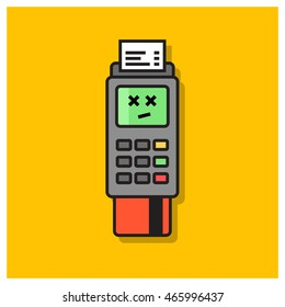 Credit Card Machine Payment Declined or Failed (Line Art Vector Illustration in Flat Style Design)
