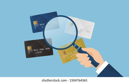 credit card and magnifying glass,vector illustration