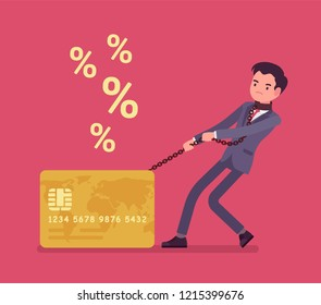 Credit card and male cardholder percentage rate problem. Man frustrated with heaviest card debt burden, consumer in difficult financial situation unable to pay. Vector flat style cartoon illustration