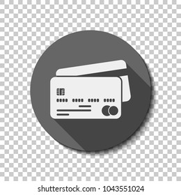 credit card mastercard icon. White flat icon with long shadow in circle on transparent background
