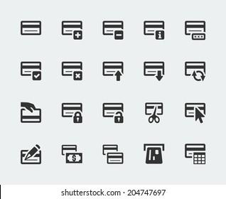 Credit card mini vector icons set
