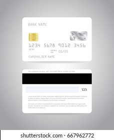 Credit card mockup. Realistic detailed credit cards set abstract design background. Front and back side template. Money, payment symbol. Vector illustration EPS10