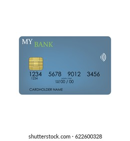 credit card on the white background. Vector illustration