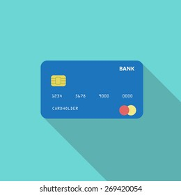 Credit card. Online payment. Cash withdrawal. Financial operations.Shopping. Flat style icon with long shadow. Vector illustration EPS10