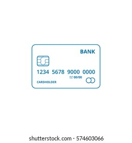 Credit Card outline vector icon.