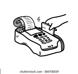 Credit Card Payment Doodle, a hand drawn vector doodle illustration of a someone's hand swiping a credit card on the credit card reader to pay for something.