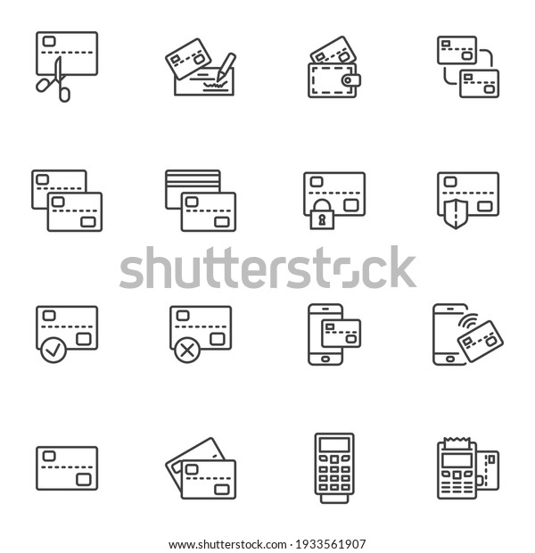 Credit card payment line icons set, outline vector symbol collection, linear style pictogram pack. Signs, logo illustration. Set includes icons as bank check signature, wireless payment, ATM machine