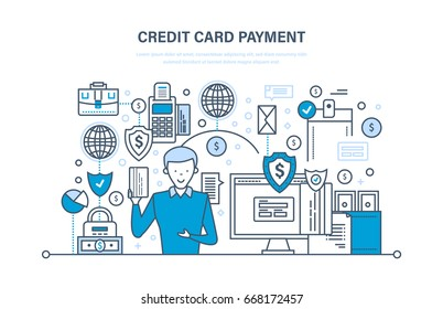 Credit card payment, secure transactions, business, finance, bank, banking, protection of deposits, money transfers. Illustration thin line design of vector doodles, infographics elements.
