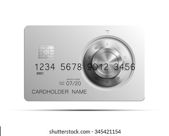 Credit card picture. Full color Bank card with the image a combination lock on the front side. Plastic card with steel safe. Debit card with chip. Reliable protection of financial investments