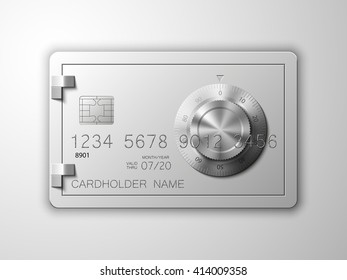 Credit card picture. Full color Bank card with image combination lock on the front side. Plastic card with steel safe. Debit card with chip. Reliable protection of financial investments & payments