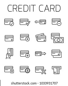 Credit card related vector icon set. Well-crafted sign in thin line style with editable stroke. Vector symbols isolated on a white background. Simple pictograms.