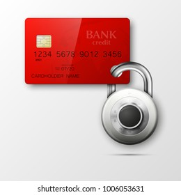 Credit card safe combination lock. Protection credit card. Safety badge banking. Defense finance. Security Plastic card software. Debit card electromagnetic chip Privacy Electronic money funds transfer
