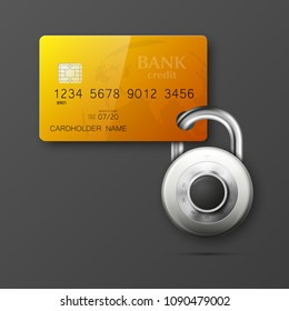 Credit card safe combination lock. Protection credit card. Safety badge banking. Defense finans. Security Plastic card software. Debit card electromagnetic chip Privacy Electronic money funds transfer