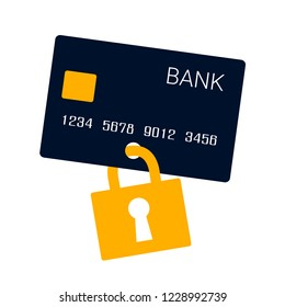 Credit card and safety - card is protected and secured against misuse and theft by lock and padlock. Vector illustration